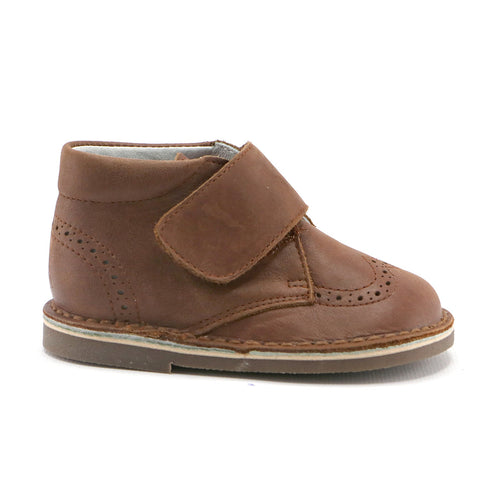 Brown leather Brouge bootie with velcro strap SS-8040