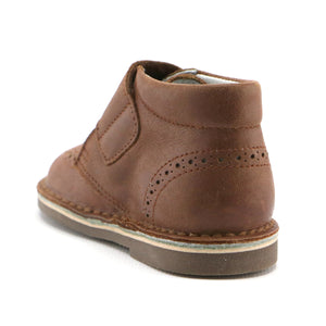 Brown leather Brouge bootie with velcro strap SS-8040 - SIMPLY SHOES HONG KONG