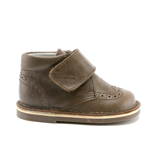 Coffee leather  Brogue Bootie with velcro strap (SS-8041) - SIMPLY SHOES HONG KONG