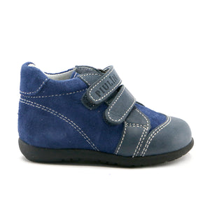 Spruce leather combo with Double Velcro boy Shoe (SS-8043) - SIMPLY SHOES HONG KONG