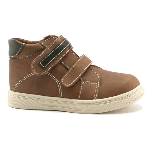 Tan combo leather double strap Boys Ankle Boots (SS-8047)