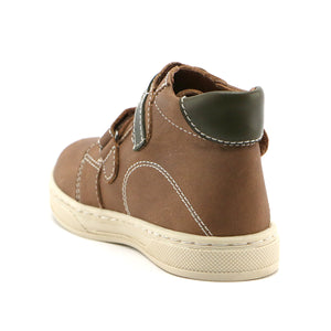 Tan combo leather double strap Boys Ankle Boots (SS-8047) - SIMPLY SHOES HONG KONG