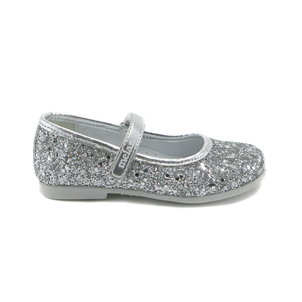 Silver Gilter Leather Girls Mary Jane (SS-7099)