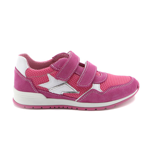 Fuschia Leather Girls Sneakers (SS-7101)