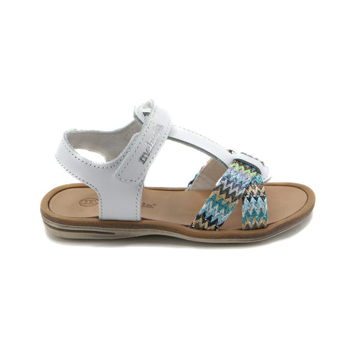 White Leather Girls Sandals (SS-7105)
