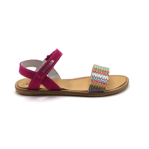 Fuschia Leather Girls Sandals (SS-7106)