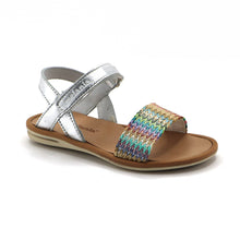 Silver Leather Girls Sandals (SS-7108) - SIMPLY SHOES HONG KONG