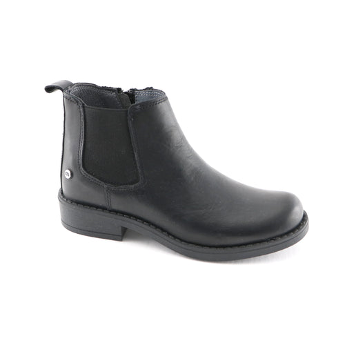 Black Leather Girls Ankle Boots (SS-7125)