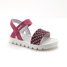 Fuschia leather Girls Sandals (SS-7109)