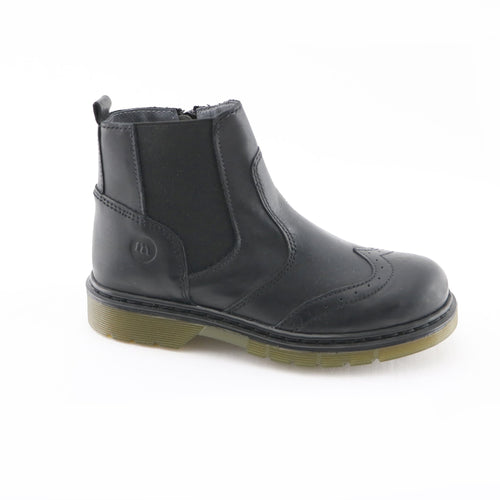 Black Leather Girls Ankle Boots (SS-7126) - SIMPLY SHOES HONG KONG