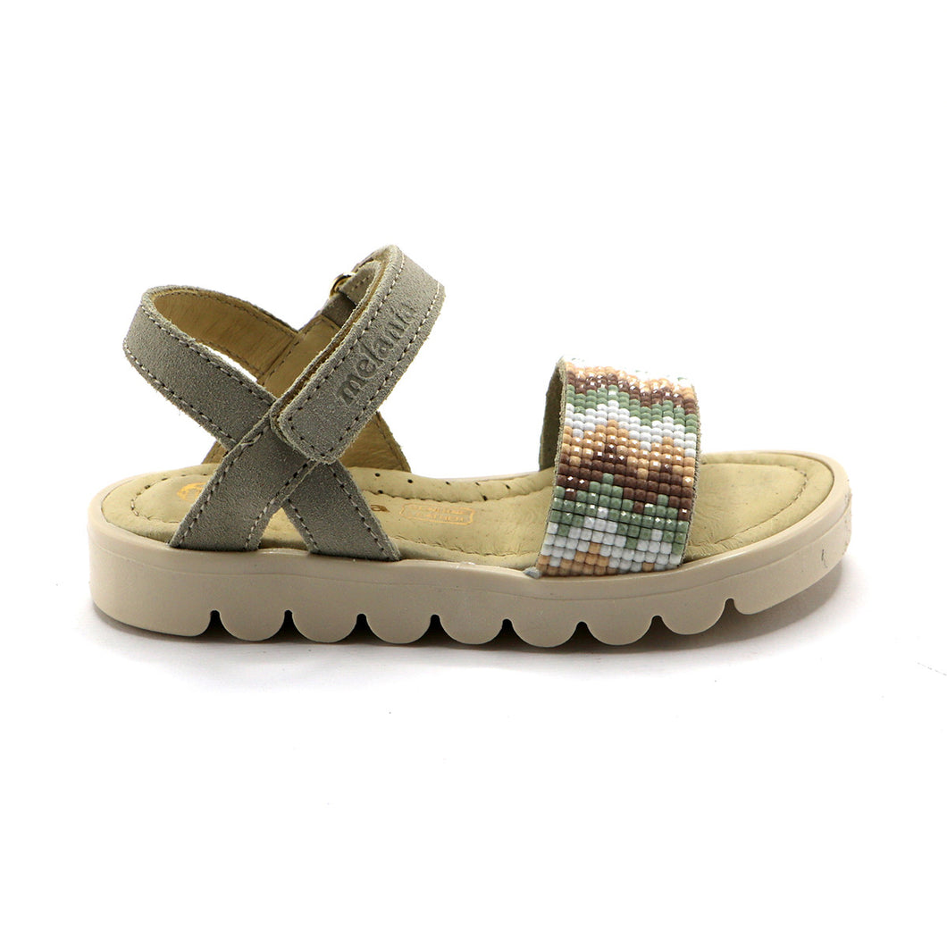 Beige Leather Girls Sandals (SS-7110)