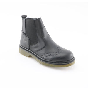 Black Leather Girls Ankle Boots (SS-7126)