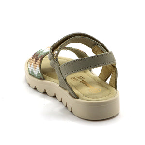 Beige Leather Girls Sandals (SS-7110) - SIMPLY SHOES HONG KONG
