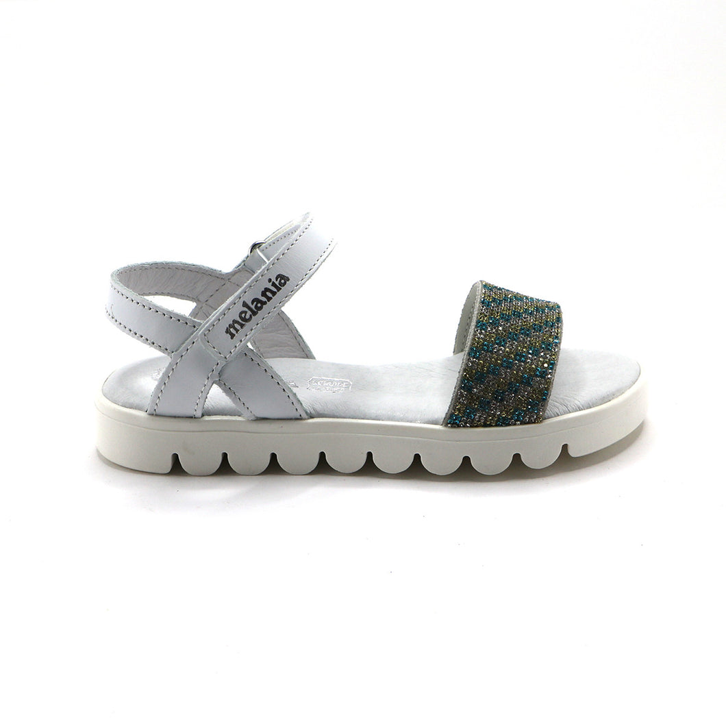 White Leather Girls Sandals (SS-7111)