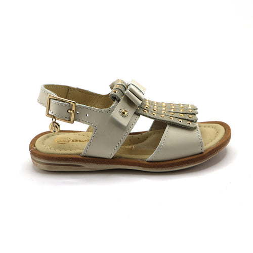 Beige Leather Tassel Girls Sandals (SS-7112)