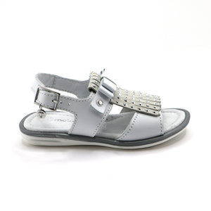 White Leather Tassal Girls Sandals (SS-7113)