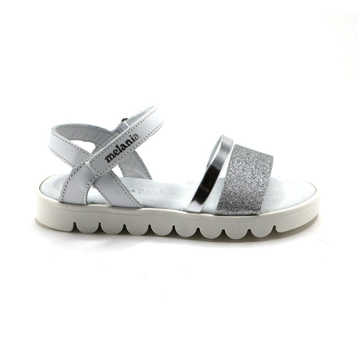 White Leather Girls Sandals (SS-7114)
