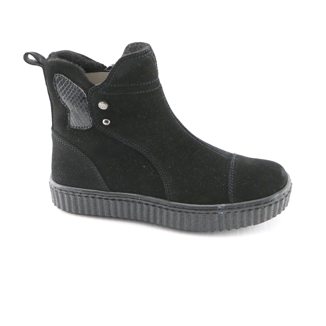 Black Leather Girls Ankle Boots (SS-7131)