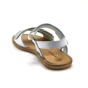 White Leather Girls Sandals (SS-7115)