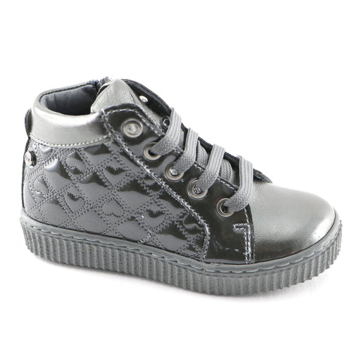 Silver Leather Girls sneakers (SS-7133) - SIMPLY SHOES HONG KONG