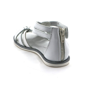 White Leather Girls Sandals (SS-7116)