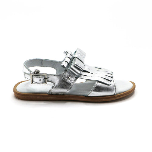Silver Leather Tassal Girls Sandals (SS-7117) - SIMPLY SHOES HONG KONG