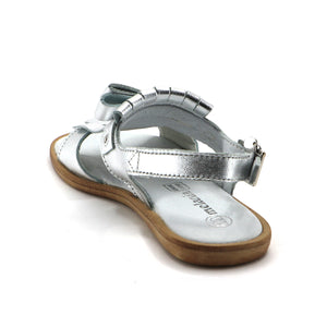 Silver Leather Tassal Girls Sandals (SS-7117)