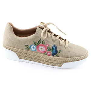 Beige Casual Shoe with Embroidery (978.002) - SIMPLY SHOES HONG KONG