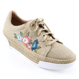 Beige Casual Shoe with Embroidery (978.002)