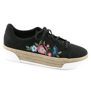 Black Microfiber with Embroidery Casual shoe (978.002) - SIMPLY SHOES HONG KONG