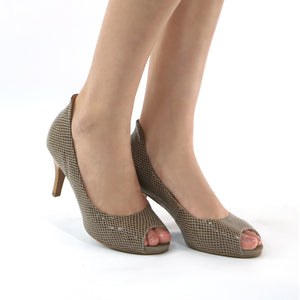 Taupe Snake Peep Toes Pumps for Women (362.046) - SIMPLY SHOES HONG KONG