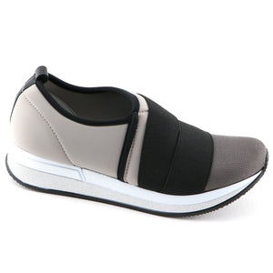 Grey/Black elastic Casual Sneakers (973.018) - SIMPLY SHOES HONG KONG