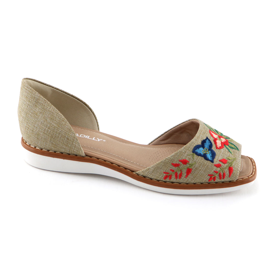 Beige Textile with embroidery flat sandal (406.047)