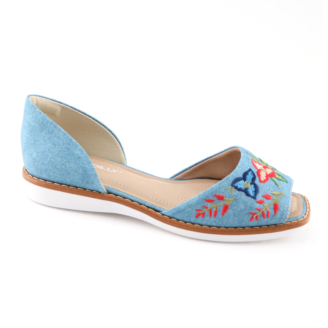 Denim with Embroidery Ladies Sandal (406.047) - SIMPLY SHOES HONG KONG