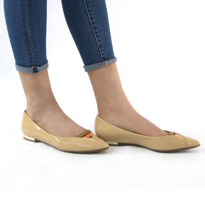 Taupe Flat Pumps for Women (274.032) - SIMPLY SHOES HONG KONG