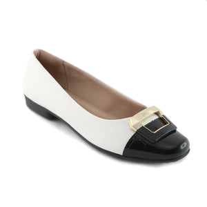 White/Black Napa Flat Ballerina (251.005) - SIMPLY SHOES HONG KONG