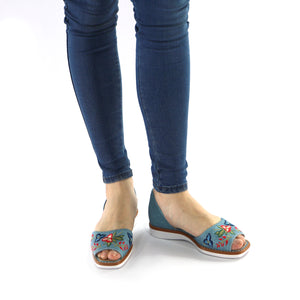 Denim with Embroidery Ladies Sandal (406.047)