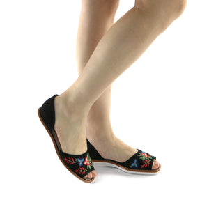 Black microfiber embroidery Sandal (406.047) - SIMPLY SHOES HONG KONG