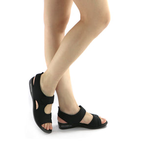 Black Flat Sandals (517.015) - SIMPLY SHOES HONG KONG