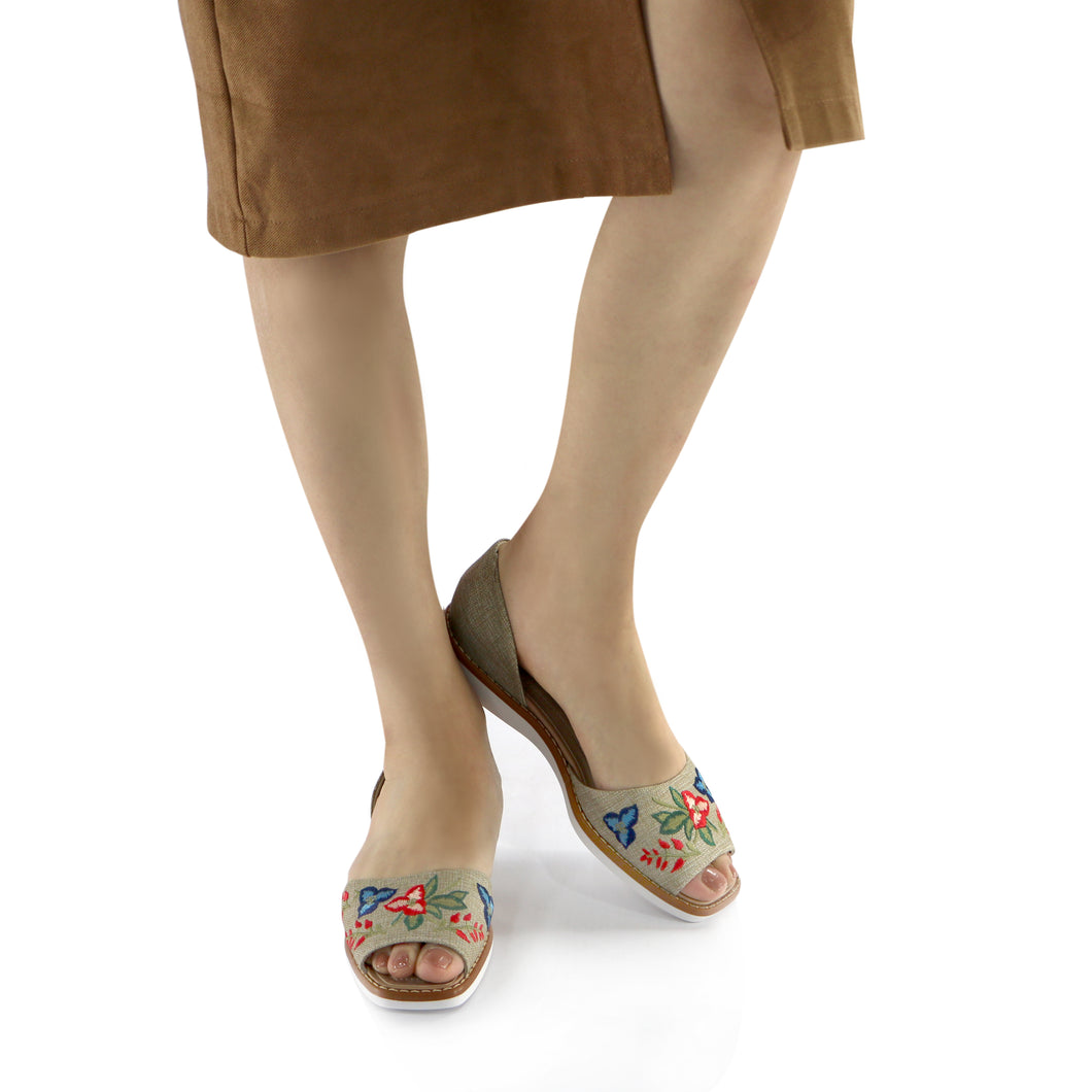 Beige Textile with embroidery flat sandal (406.047) - SIMPLY SHOES HONG KONG