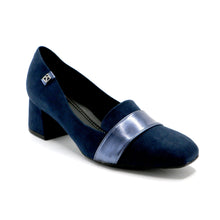 Navy Microfiber/Metallic Strap Pumps for Womens (151.008)