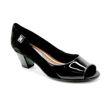 Black Microfiber/Pat Peep Toe Pumps for Womens (714.080) - SIMPLY SHOES HONG KONG