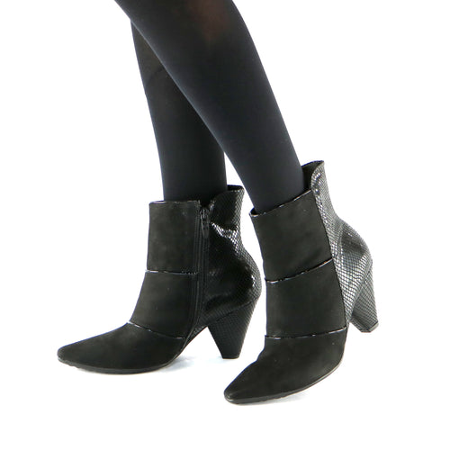 Black Microfiber Snake Booties (754.005 ) - SIMPLY SHOES HONG KONG