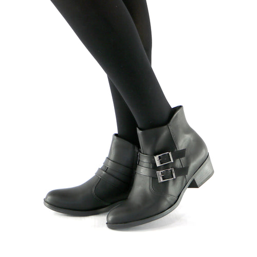 Buckles Black Nappa Ankle Boot (652.006)