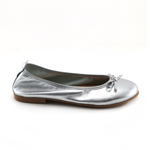 Silver Leather Ballerina (SS-7140) - SIMPLY SHOES HONG KONG