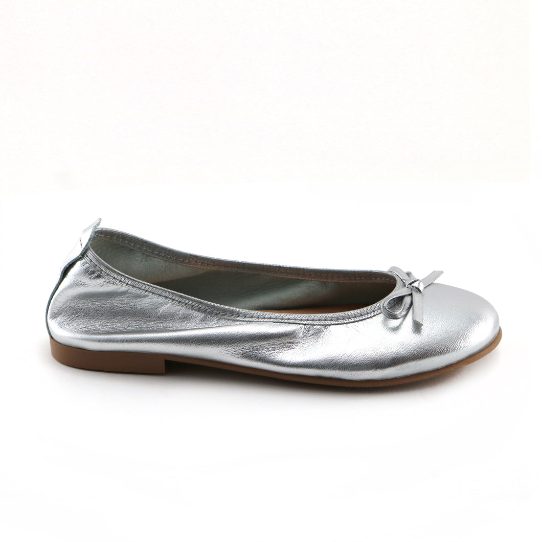 Sliver Leather Ballerina (SS-7140) - SIMPLY SHOES HONG KONG