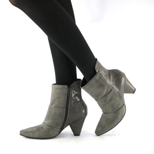 Grey Microfiber Snake Booties (754.005) - SIMPLY SHOES HONG KONG