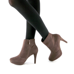 Brown Microfiber Ankle Boots (841.027)