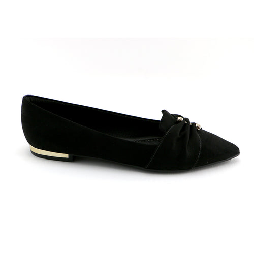 Black Microfibra flat fashion shoe (274.038)