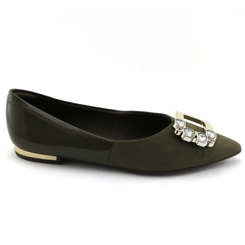Olive Flat pumps with buckle (274.035) - SIMPLY SHOES HONG KONG